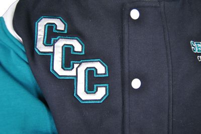 calvary christian college exodus baseball jacket school initials satin applique