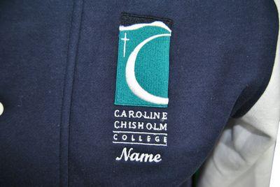caroline chisholm college exodus baseball jacket embroidered school emblem