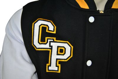 cambridge park high school exodus baseball jacket leather look applique initials