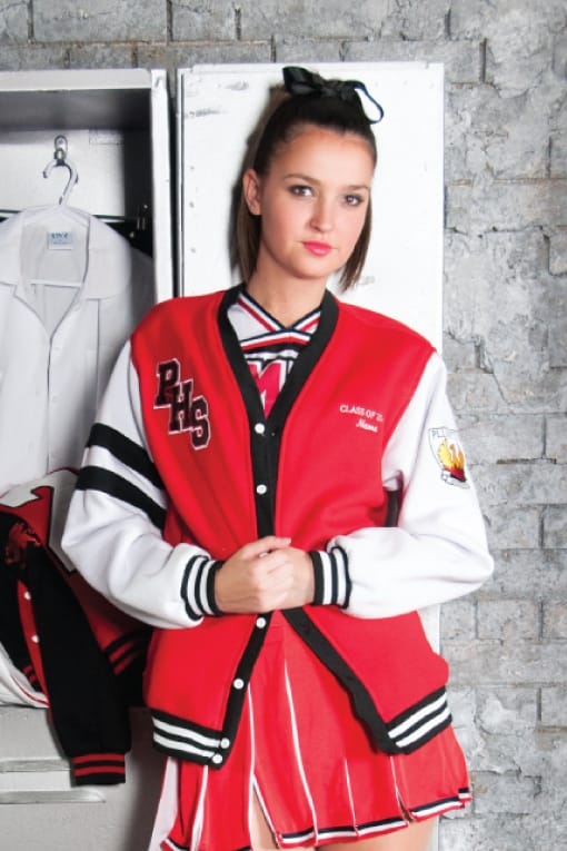 Exodus Wear Year 12 Custom Varsity Cardigan front