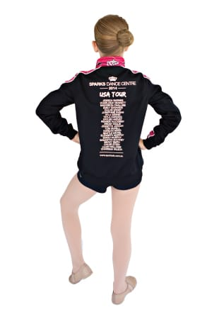 Exodus Wear Sparks Dance Centre custom active jacket back