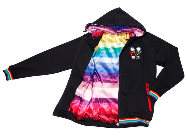 Exodus Wear custom jacket lining with rainbow pattern