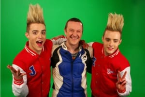 Jedward-Paul-McGrath-Put-Your-Green-Cape-On-Video-Shoot-custom-varsity-jackets