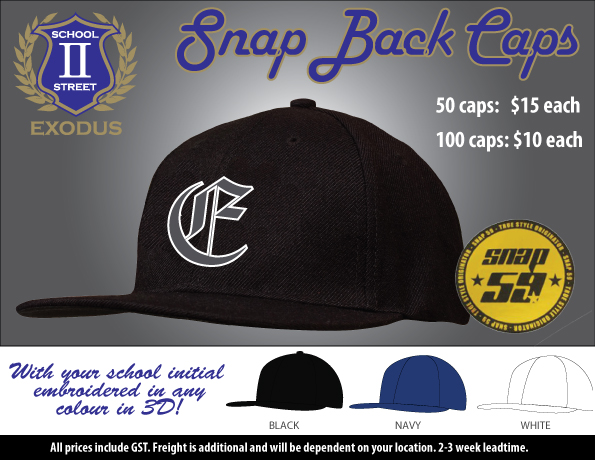 6bfa0a49ff8 Snapback Caps now available customised with your school letter