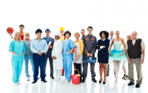 Large group of a people on a Various Occupations. Isolated on white background. [fusion_builder_container hundred_percent=