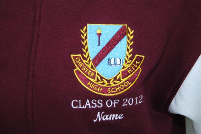 embroidered school emblem and text