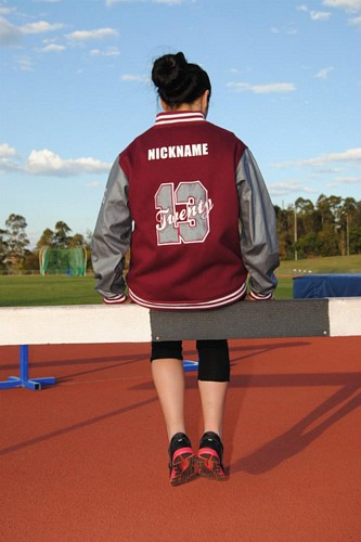 ex baseball custom made year 12 varsity jacket denim sleeves applique
