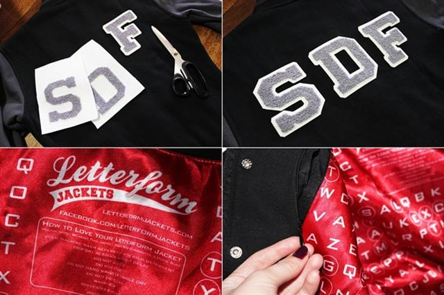sydney fashion blogger spindizzyfall wearing letterform baseball jacket sewing on chenille letters