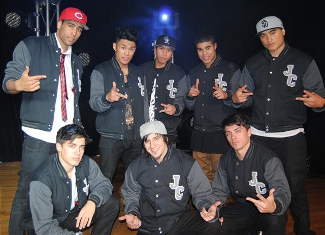 the justice crew wearing letterform personalised baseball jackets