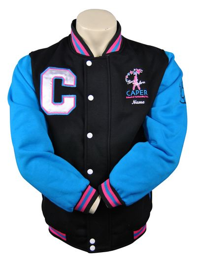 caper school of performing arts exodus baseball jacket front