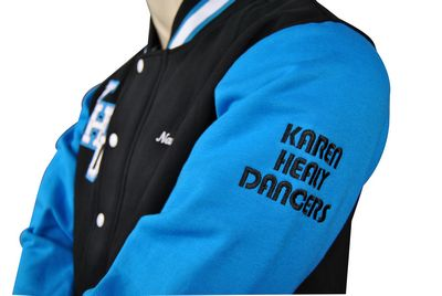 karen healy dancers exodus baseball jacket embroidered text on sleeve