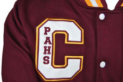 campbelltown performing arts high school exodus baseball jacket applique school initials