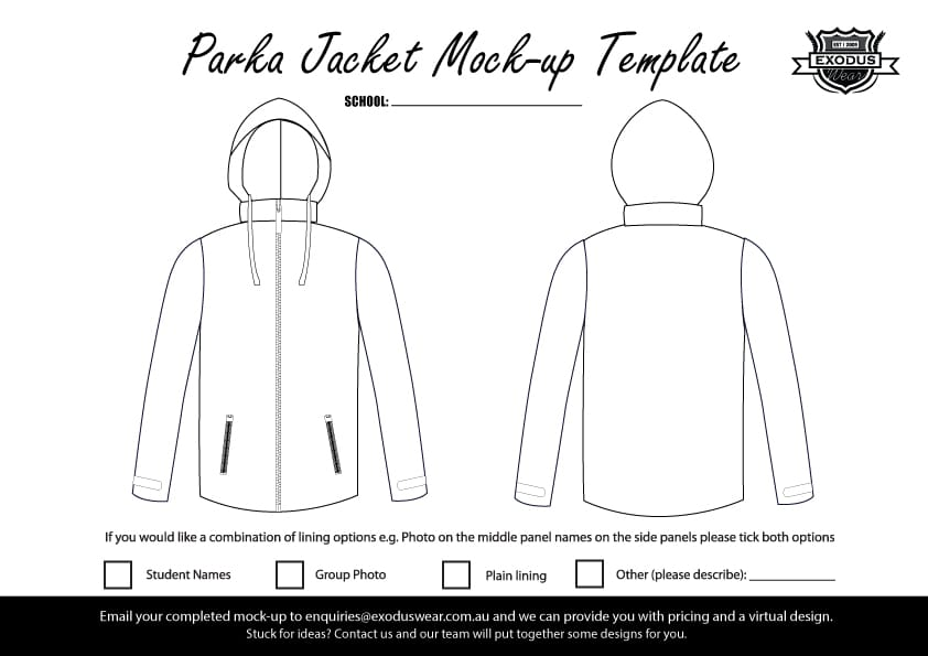 Custom Parka Jacket Design Template
