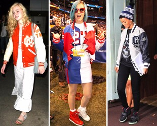 Elle Fanning, Katy Perry and Rihanna show off their varsity style.