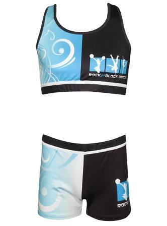 Custom dancewear uniform crop top shorts front