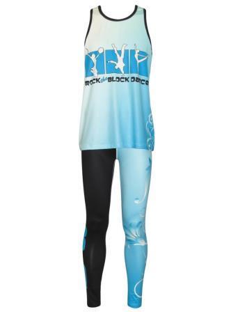 Custom dancewear uniform sublimated singlet leggings front