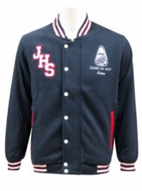 Jamison high school baseball jacket red boarder front