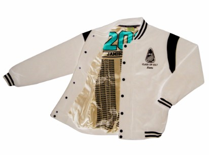 Jamison high school baseball jacket white boarder inside