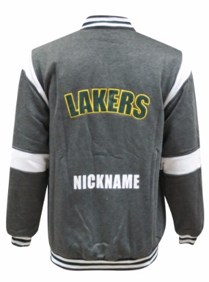 lakers football netball club baseball jacket back