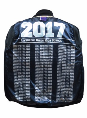 liverpool girls high school baseball jacket lining names