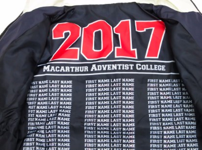 macarthur adventist college windbreaker lining names