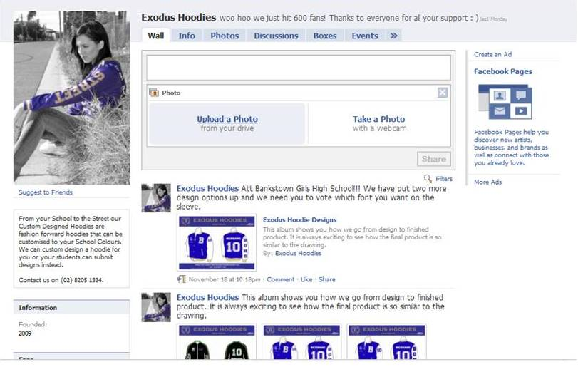 Created our Facebook Page